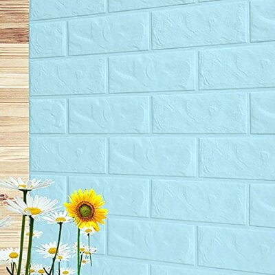 3D Light Blue Brick Wall Stickers Panel Self Adhesive