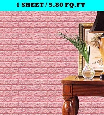 3D Pink Brick Wall Stickers Panel Self Adhesive
